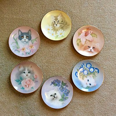 "Save Cats!  The Hamilton Petals and Purr Cat Plate Collection 8 1/2"" gold rim"