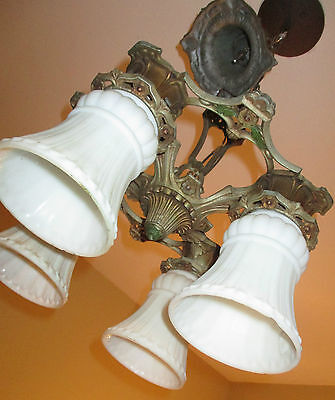 Vintage Art Deco Welsbach  4 Shade Polychromatic Cast Metal Chandelier Complete