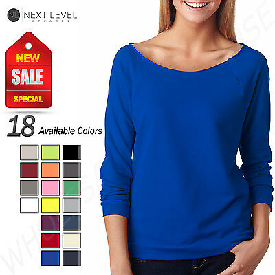 NEW Next Level Womens Premium Terry Raw Edge 3/4 Sleeve Raglan T-Shirt M-6951