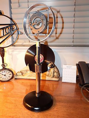 Vintage American1920-'30's ring spring carbon microphone w/vintage stand