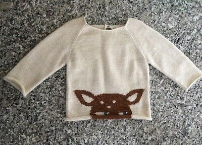 Oeuf  Sweater Infant Size 6-12 Months Baby Alpaca100%  Off White Bambi Deer