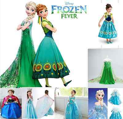Grils Disney Frozen Princess Queen Elsa Anna Cosplay Costume Party Fancy Dress 2