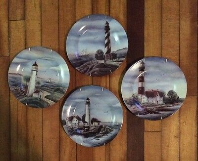 (4X) Coastal Lighthouse Dinner Plate Home Trends Totally Today Sailboat
