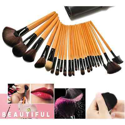 24Pcs Cosmetic Makeup Tool Brush Set Foundation Kit Pouch Bag Brown color