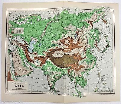 Rare Original Physical Map of Asia c1900 by W. & A. K. Johnston