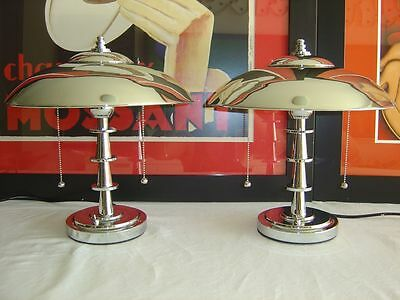 ** TWO (2) x Chrome Art Deco Style - Machine Age Table Lamps (Pair) **