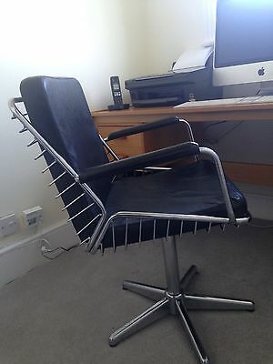 Retro Office / Desk Chair - Black Leather And Chrome