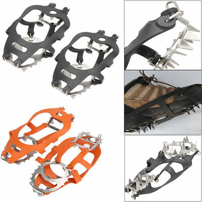 18 Teeth Anti-slip Ice Snow Climbing Hiking Shoe Covers Spike Cleats Crampons
