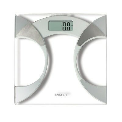 NEW Salter 9141 WH3R Glass Body Fat Analyser Bathroom Scale