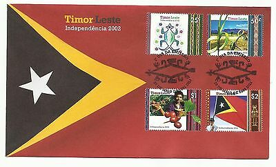 East Timor 2002 - FDC with set Independence Day - Crocodile, palm, coffee, flag