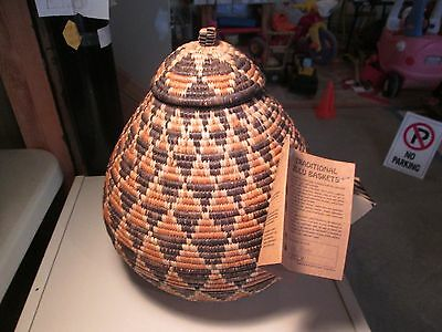 Hand Woven Traditional Zulu Basket With Lid Signed Tag