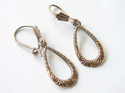 1974 Vintage 9ct Yellow Gold Chased Oval Drop Earrings Hallmarked