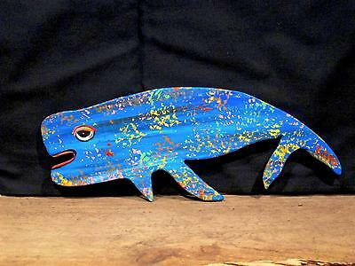 BLUE WHALE ~ORiGINAL HAND CUT WOOD~FiSH~KENO FOLK Artist~COASTWALKER~USA