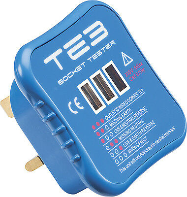 Plug In Electrical Socket Mains Tester Electricians Tool for Correct Wiring 230V