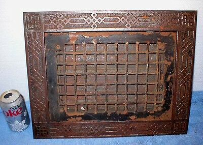 Cast Iron Ornate Floor Grate 14 x 18 overall 10 x 14 Closeable  Louver Insert