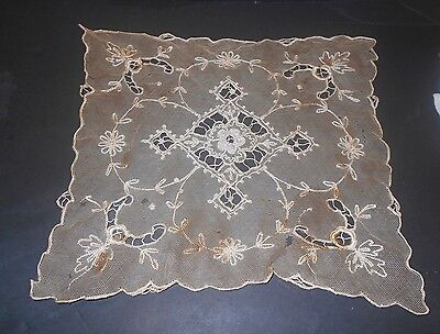 FRANCE Needle Run Antique Handmade NET LACE Doilly Ivory Silk w/ Rasied Florals
