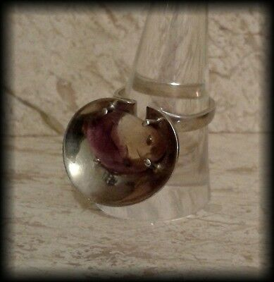 Vintage 1970's Polished Agate Nugget & 925 Solid Sterling Silver Chunky Ring