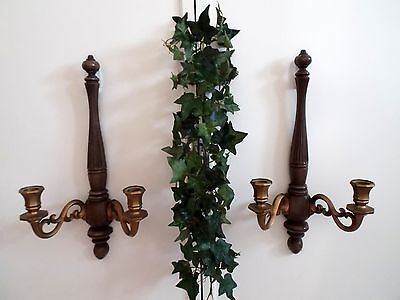 Syroco Brown & Gold Candle Wall Sconces Candleholders Traditional/Cottage
