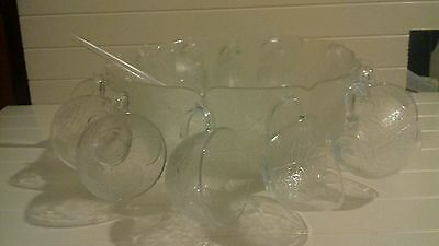 Beautiful french Glass Christmas Party Punch Bowl & 12 hanging Cups 26 piece set
