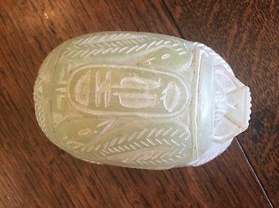 Large Carved Egyptian Scarab Beetle Paperweight With Hieroglyphics