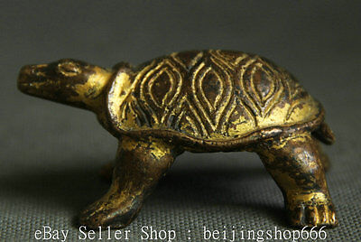 7CM Old Chinese Chian Bronze Gilt Feng Shui Tortoise Sea Turtle Longevity Statue