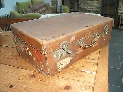 "1' 10"" Vintage Brown Leather Suitcase Old Travel Labels Luggage Display Prop"