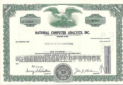National Computer Analysts, Inc stock certificate Brokers Owned Delaware