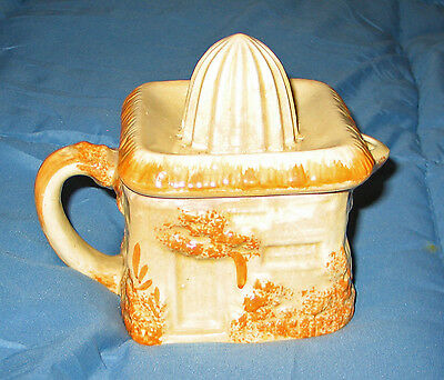 Vintage Pottery Juicer / Reamer & Pitcher Made In Japan Raised Hand Painted