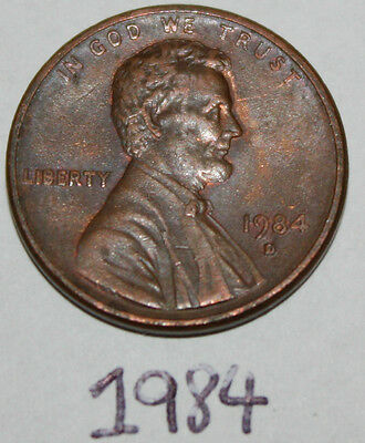 1984 D United States of America One Cent 1c Penny Coin, Lincoln, American U.S.A.