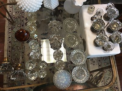 Vintage Mixed Lot of 31 Lg & Sm  Drawer Pulls Door Knobs sandwich glass