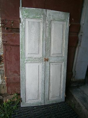 Antique Raised Panel Doors For Cupboard Closet Shabby Green White