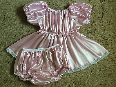 Pink Sissy ABDL Adult Baby Satin Dress & Bottom Diaper Cover