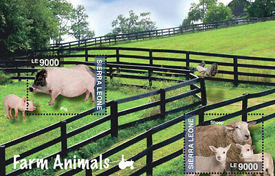 Sierra Leone - Farm Animals, Sheep, Pig, 2014 - S/S MNH