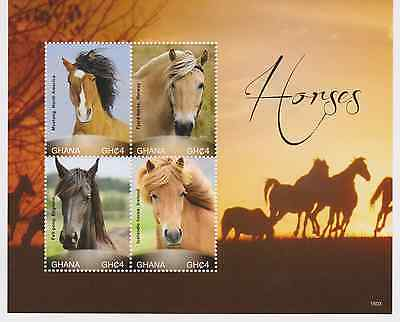 Ghana - Horses, Appaloosa, 2015 - 1503 Sheet of 4 MNH
