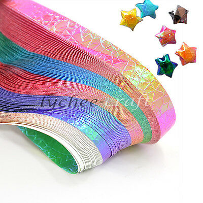90 Strips Shiny Folding Origami Paper Lucky Star Assorted DIY Craft Home Decor