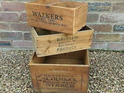 Antique Coleman's Guernsey Vintage Walkers Whisky Advertising Wooden Box Crate
