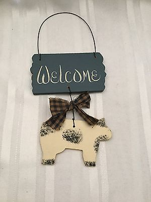 """Wooden Welcome Hanging with Cow - 10"""" long -  4 1/2"""" wide - Handmade"""