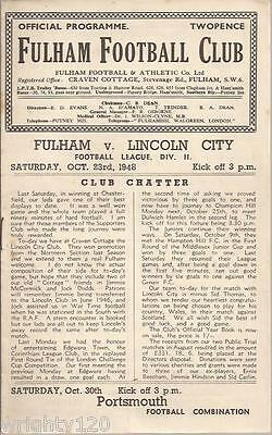 Fulham V Lincoln City 23 October 1948
