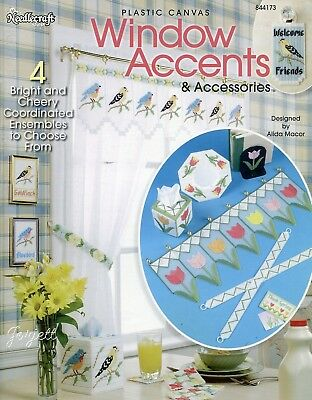 Window Accents & Accessories ~ 4 Ensembles plastic canvas pattern booklet NEW