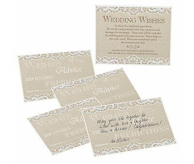 Country Lace Wish Cards For Alternative Guest Book Signing