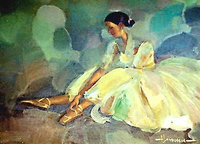 ACEO Ballerina, Pointes LE Print of Original Painting by Sergej Hahonin