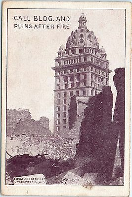 Postcard CA Call Building & Ruins After Fire, San Francisco, Unposted, 1906