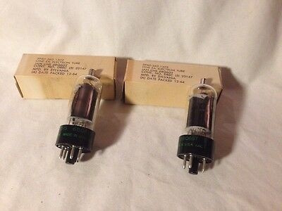 2 Sylvania JAN-CHS-6BQ6 GT Radio Vacuum Tubes NOS Matched set