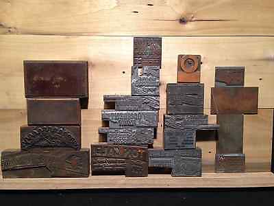 Antique copper printing press stamps wooden back etched