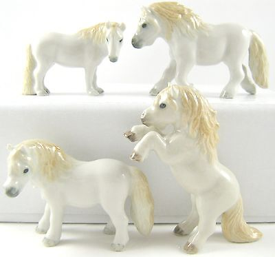 Horse Miniature Figurine Porcelain - Hand Painted Set of 4 Perlino Ponies