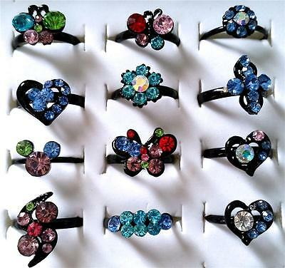 Bulk Lot x 10 Girls Rhinestone Party Rings Adjustable Black Bands Mixed Colors