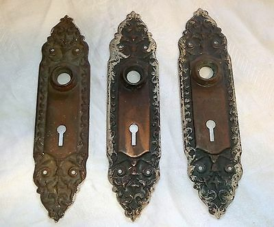 "3 Antique Fancy Copper 8"" Door Plates Escutcheon Skeleton Keyhole Salvaged AS IS"