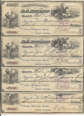 USA old bank's check. Banking House of R.S. Battles. Chase national Bank 1894