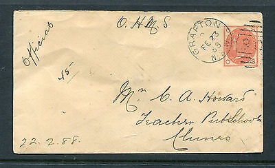 New South Wales 1888 1D Red Ohms Cover From Grafton.