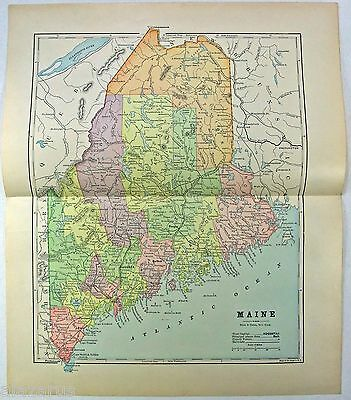 Original 1891 Map of Maine by Hunt & Eaton